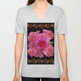 RED & PINK ROSES BLACK VIGNETTE ART  PATTERN Unisex V-Neck