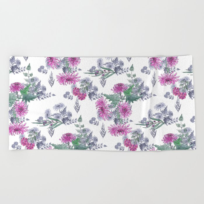 Watercolor floral pattern . 11 Beach Towel