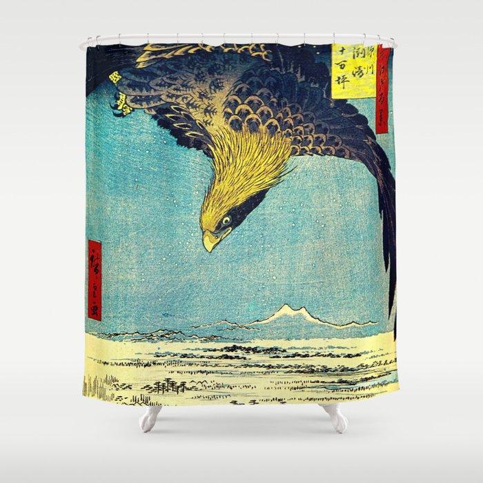 Hiroshige, Hawk Flight Over Field Shower Curtain
