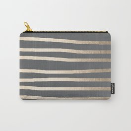 Simply Drawn Stripes White Gold Sands on Storm Gray Carry-All Pouch