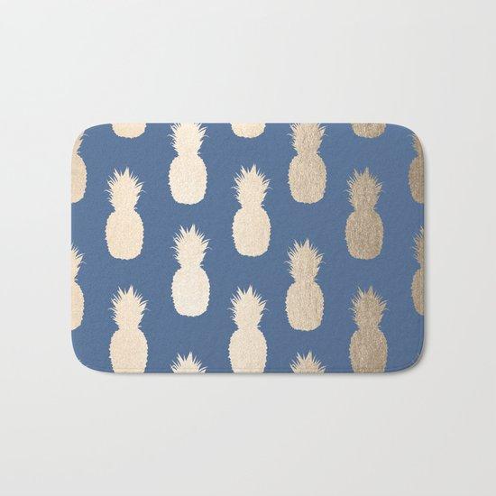 Gold Pineapples on Aegean Blue Bath Mat