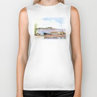 fishing Biker Tanks featuring Fishing by Vargamari