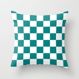 Checkered - White and Dark Cyan Throw Pillow