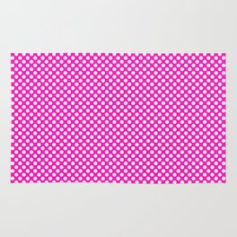 Shocking Pink and White Polka Dots Rug