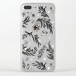 Winter Pattern VII (pine cones) Clear iPhone Case