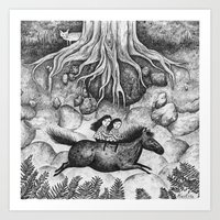 sisters Art Prints featuring Sisters by Ulrika Kestere