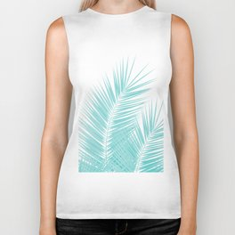 Soft Turquoise Palm Leaves Dream - Cali Summer Vibes #1 #tropical #decor #art #society6 Biker Tank