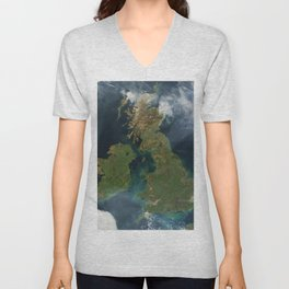 Nearly cloud-free view of Great Britain and Ireland was acquired by the Moderate Resolution Imaging Unisex V-Neck