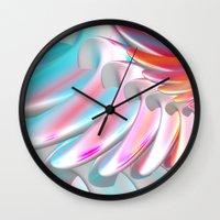 angel wings Wall Clocks featuring Angel Wings by ArtPrints