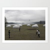 volleyball Art Prints featuring Mongolian Volleyball by Robert Pearson
