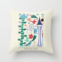 once upon a  time Throw Pillows featuring Once Upon a Time by Abbie Imagine