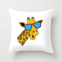 Zoo Shirt For Giraffe Lovers With A Nice Illustration Of A Giraffe T-shirt Design Grass Tall Throw Pillow