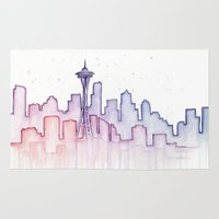 seattle Area & Throw Rugs featuring Seattle by Olechka