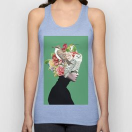 Lady with Birds(portrait) 2 Unisex Tank Top