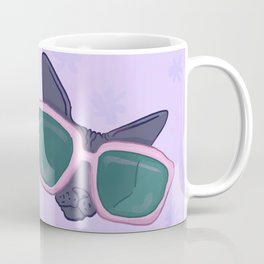 Sphynx Cat in Oversized Sunglasses - Lilac flowers - Funny Hairless Animal Illustration Coffee Mug