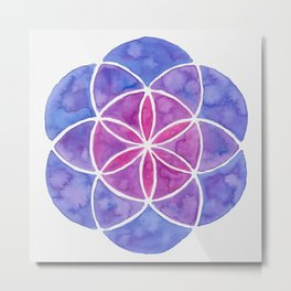 Watercolor Seed Of Life - Purple Tones Metal Print