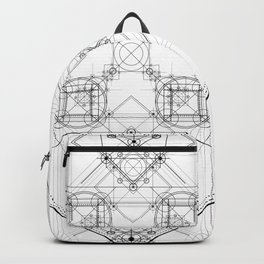 Science scheme geometric lines with alchemy symbols Backpack