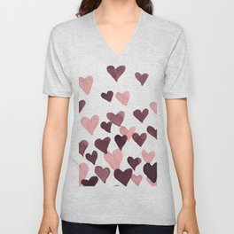 Valentine's Day Watercolor Hearts - dark pink Unisex V-Neck