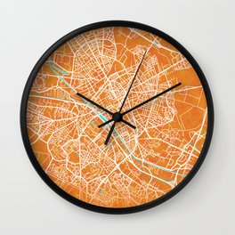 Reims, France, Gold, Blue, City, Map Wall Clock
