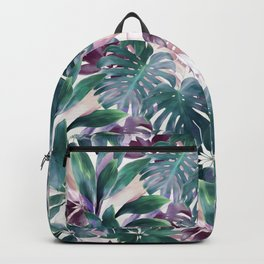 Tropical Emerald Jungle in light cool tones Backpack