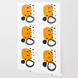 Mid Century Abstract Black & Yellow Fun Pattern Funky Playful Juvenile Shapes Polka Dots Wallpaper