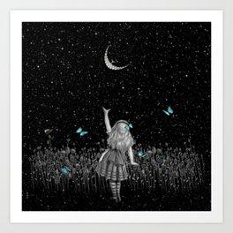 Wonderland Smiling Starry Night II - Alice In Wonderland Art Print