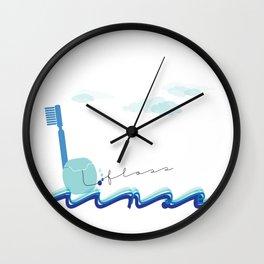 Brush Floss Rinse Wall Clock
