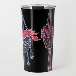 Macrame - Neon on Black Travel Mug