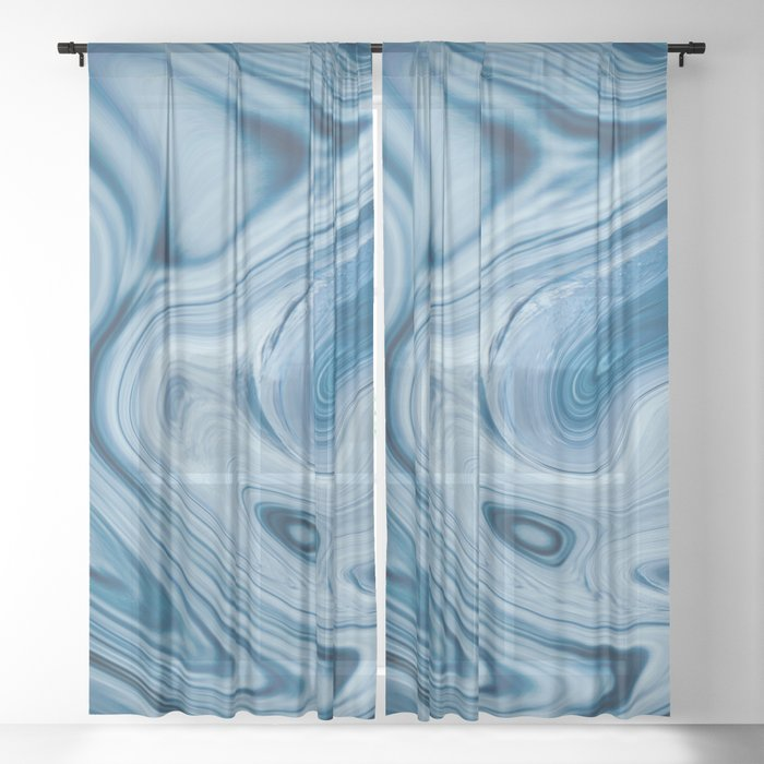 Splash of Blue Swirls, Digital Fluid Art Graphic Design Sheer Curtain