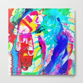 Happy Rainbow Birds Metal Print