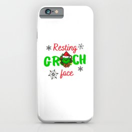 the grinch resting grinch face christmas gift iPhone Case