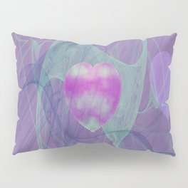 Heart Art- Abstract Art- Now or Later- Pink Heart- Purple Heart-Green-Pattern Art- Sacred Geometry Pillow Sham
