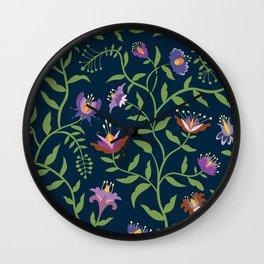 Folk Art Flowers Climbing Vines in Fall Colors Wall Clock