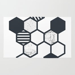 Marble Hex White Rug
