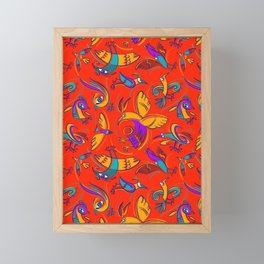 Pattern with Firebirds (on red background) Framed Mini Art Print