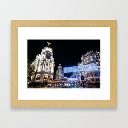Gran Via Street at Night Framed Art Print