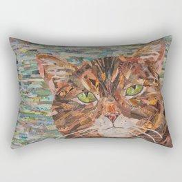 cat on aqua background Rectangular Pillow
