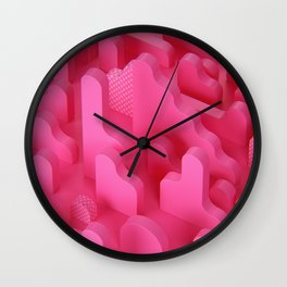 Abstract Shapes in Pink Wall Clock
