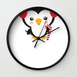 Christmas Penguins Earmuffs Candy Cane Wall Clock