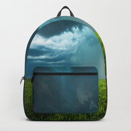April Showers - Colorful Stormy Sky Over Lush Field in Kansas Backpack