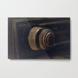 Knob on Vintage Car Radio Metal Print