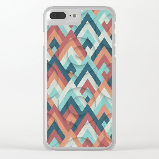 geometric vintage 70s Clear iPhone Case