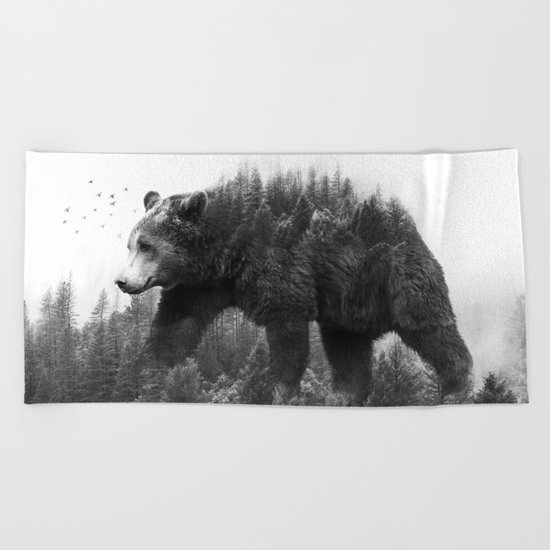 Walking trough the forest Beach Towel