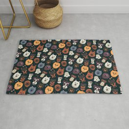 Cute Animals Dog Owner pattern Xmas Gift Rug