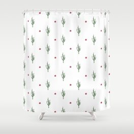 Watercolor Cactus & Floral Pattern Shower Curtain