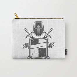 Medieval knight emblem with Crusader helmet shield swords and ribbon Carry-All Pouch