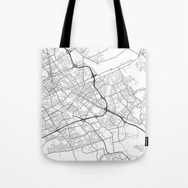 Kitchener Map, Canada - Black and White Tote Bag