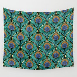Glitzy Peacock Feathers Wall Tapestry