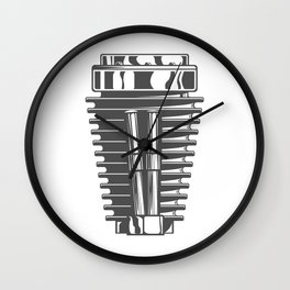 Motorcycle engine cylinder in design fashion modern monochrome style illustration Wall Clock