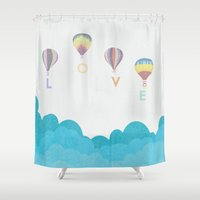 hot air balloon Shower Curtains featuring hot air balloon.. LOVE...  by studiomarshallarts